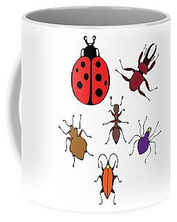 Coffee Mug featuring the painting Funny Bugs by Irina Sztukowski