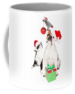 Funny Cat Dog And Bird Christmas Composite Coffee Mug