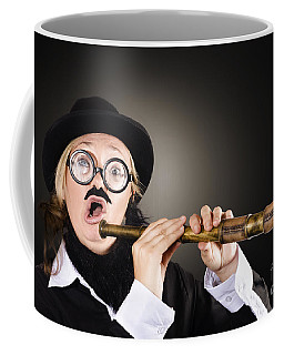 Funny Comical Female Explorer With Surprised Look Coffee Mug