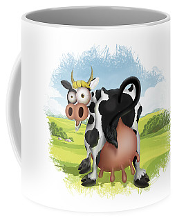 Coffee Mug featuring the drawing Funny Cow by Julia Art