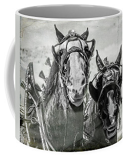 Coffee Mug featuring the photograph Funny Draft Horses by Mary Hone