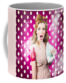 Coffee Mug featuring the photograph Funny Pin-up Woman Pressing Clothes. Dry Cleaning by Jorgo Photography - Wall Art Gallery