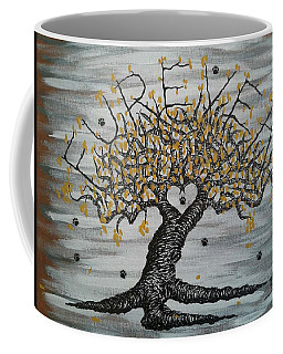 Coffee Mug featuring the drawing Furever Love Tree W/ Paws by Aaron Bombalicki
