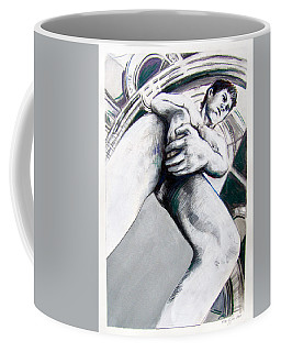 Coffee Mug featuring the drawing Future Time Traveler Peter Pan by Rene Capone