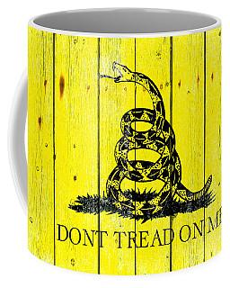 Gadsden Flag On Old Wood Planks Coffee Mug