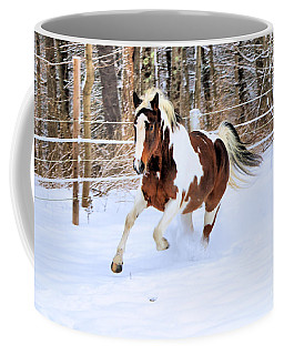Galloping In The Snow Coffee Mug by Elizabeth Dow