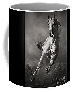 Galloping White Horse In Dust Coffee Mug