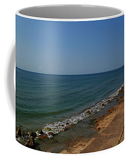 Coffee Mug featuring the photograph Galveston Beach At The Seawall by Tikvah's Hope