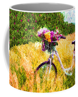 Garden Bicycle Print Coffee Mug by Tina LeCour