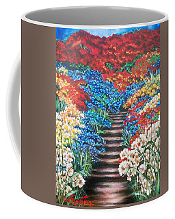 Red White And Blue Garden Cascade.               Flying Lamb Productions  Coffee Mug