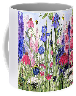 Garden Cottage Iris And Hollyhock Coffee Mug by Laurie Rohner