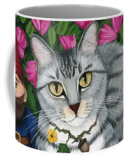 Garden Friends - Tabby Cat And Gnomes Coffee Mug