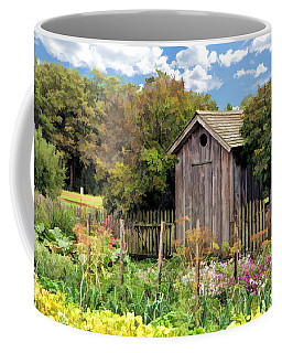 Coffee Mug featuring the painting Garden Outhouse At Old World Wisconsin by Christopher Arndt