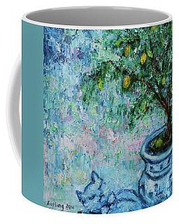 Coffee Mug featuring the painting Garden Sleeping Cat by Xueling Zou