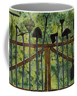Coffee Mug featuring the painting Garden Tools by Hailey E Herrera