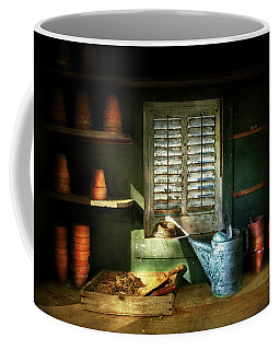 Coffee Mug featuring the photograph Gardener - The Potters Shed by Mike Savad