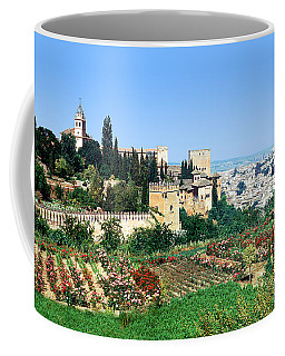 Gardens Castle And Buildings In Alhambra Spain Coffee Mug