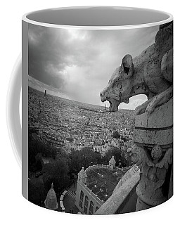 Coffee Mug featuring the photograph Gargoyle Hungry For The Eiffel Tower by James Udall
