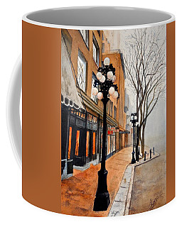 Coffee Mug featuring the painting Gastown, Vancouver by Sher Nasser