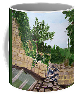 Coffee Mug featuring the painting Gate's Open, Come In by Linda Feinberg