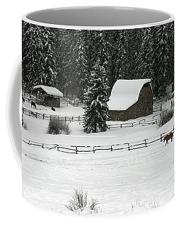 Coffee Mug featuring the photograph Gathering At The Barn by Ronnie and Frances Howard