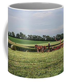 Gathering Haybales With A Child Coffee Mug