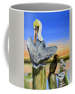 Coffee Mug featuring the painting Gathering Of The Locals by Phyllis Beiser