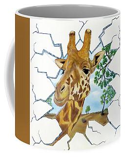 Coffee Mug featuring the painting Gazing Giraffe by Teresa Wing