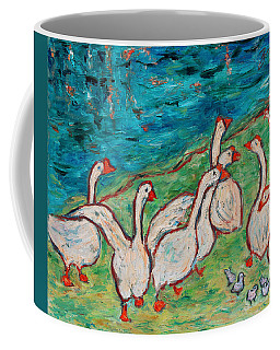 Coffee Mug featuring the painting Geese By The Pond by Xueling Zou