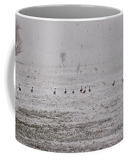 Geese During The Snow Storm Coffee Mug