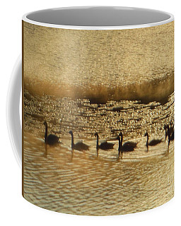 Coffee Mug featuring the photograph Geese On Golden Pond by Rockin Docks Deluxephotos