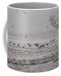 Geese Walking In The Snow Coffee Mug