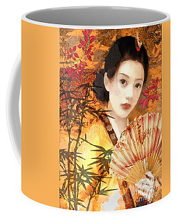 Geisha With Fan Coffee Mug by Mo T