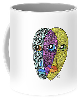 Coffee Mug featuring the drawing Gemini by Barbara McConoughey