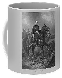 Coffee Mug featuring the mixed media General George Mcclellan On Horseback by War Is Hell Store