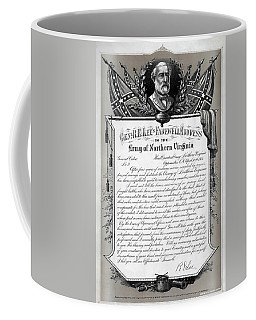 Coffee Mug featuring the mixed media General Robert E. Lee's Farewell Address To Confederate Soldiers by Daniel Hagerman