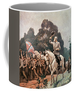 General Robert Lee Saluting The Troops Heading To The Front Coffee Mug
