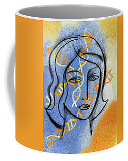 Coffee Mug featuring the painting Genetics by Leon Zernitsky