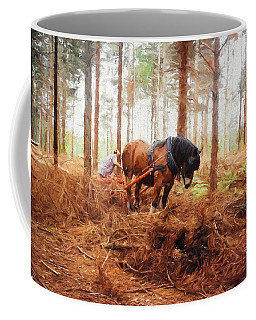 Gentle Giant - Horse At Work In Forest Coffee Mug