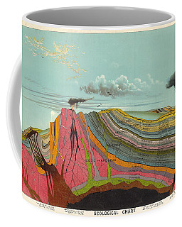 Geological Chart - Cross Section Of The Earth's Crust - Old Illustrated Atlas - Terrestrial Chart Coffee Mug