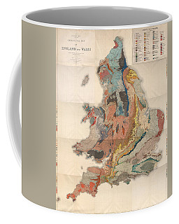 Geological Map Of England And Wales - Historical Relief Map - Antique Map - Historical Atlas Coffee Mug