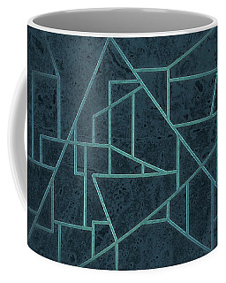 Geometric Abstraction In Blue Coffee Mug