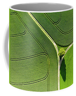 Geometric Landscape 05 Tree And Green Fields Aerial View Coffee Mug