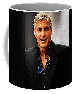 Coffee Mug featuring the photograph George Clooney Painting by Ericamaxine Price