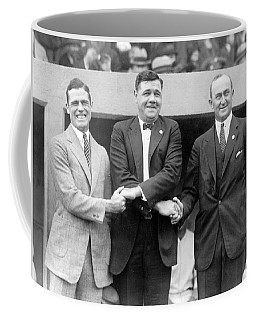 Coffee Mug featuring the photograph George Sisler - Babe Ruth And Ty Cobb - Baseball Legends by International  Images