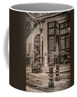 Coffee Mug featuring the photograph George Town, Penang, Malaysia - Courtyard Of The Blue Mansion, Silverplate by Mark Forte