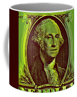 Coffee Mug featuring the digital art George Washington - $1 Bill by Jean luc Comperat