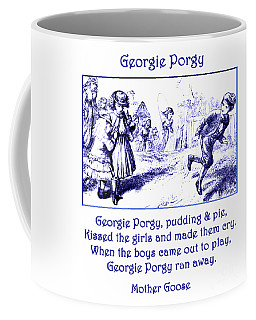 Coffee Mug featuring the painting Georgie Porgy Mother Goose Illustrated Nursery Rhyme by Marian Cates