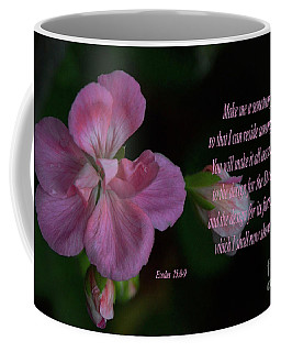 Coffee Mug featuring the photograph Geranium After The Rain Scripture by Debby Pueschel