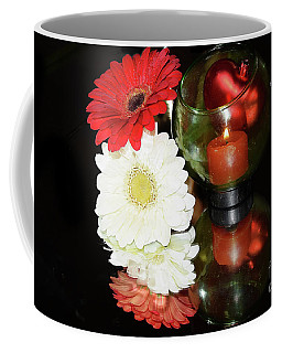 Coffee Mug featuring the photograph Gerbers With Candle by Elvira Ladocki